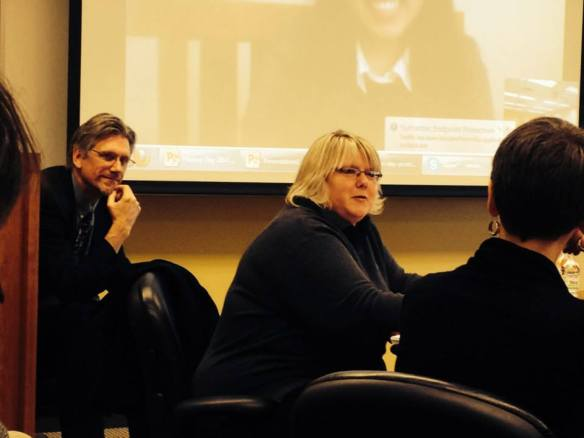 Dr. Newton Key (left) listens to EIU Career Counselor Bobbi Kingery (right) taking about the strong job skills that a history degree provides: research, writing, and analytical thinking, just for starters!