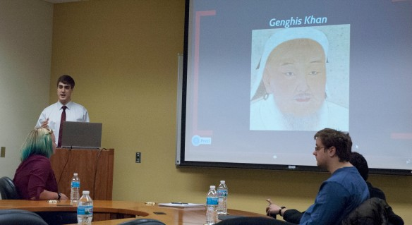 Grant Watts explains the significance of the Mongol invasion on the Abbasid Caliphate (photo courtesy of Booth Library)